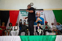 Former President John Mahama speaking during his campaign tour in Accra