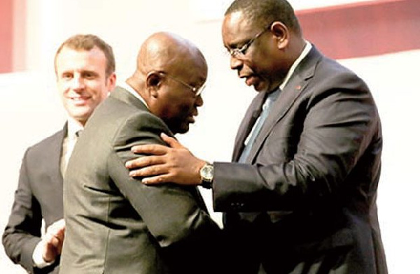 President Akufo-Addo being congratulated by President Macky Sall of Senegal