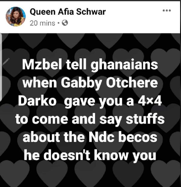 Afia Schwar drags Gabby Otchere-Darko into her fight with Mzbel 2