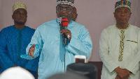 Dr Mahamudu Bawumia and Boniface Abubakar Saddique (R) addressing Moslems
