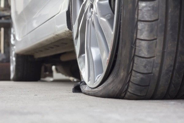 An image of a punchered tyre