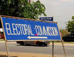 File photo of a directional sign of the Electoral Commission