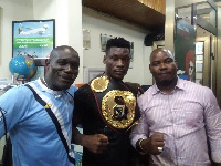 Patrick Allotey with his promoter and Mr. Okine (L)