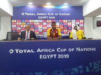 Jordan Ayew (middle) speaking to the press after the game