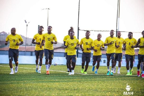 Black Star players training for Sao Tome & Principe game