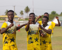 Skyy FC  players celebrating their win