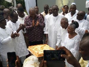 Mahama joined Kufuor and his family to celebrate the birthday of Mrs Theresa Kufuor