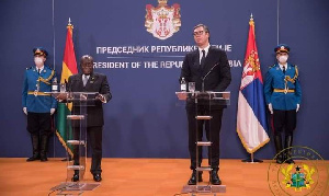 Akufo-Addo addresses a joint press conference with his Serbian counterpart