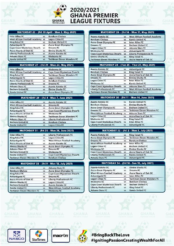 Full list: 2020/21 Ghana Premier League fixtures 4