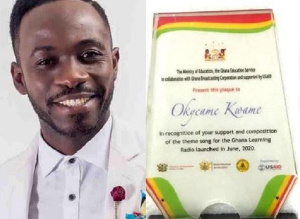 Okyeame Kwasme was recognized for his immense efforts towards the Ghana Radio Learning program