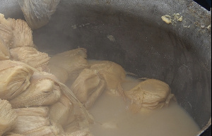 The water that remains after cooking kenkey; 'Ntishin nu' is believed to be healthy