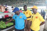 Mr George Kporye (left), GEL, Corporate Affairs and Administration Manager, inspecting work