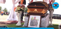 Mortal remains of the late Lance Corporal Emmanuel Osei laying in state