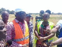 Upper West Regional Minister, Alhassan Sulemana with Nadowli/Kaleo DCE and others.