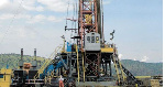 An oil rig drilling oil in western Uganda near the shores of L. Albert. FILE PHOTO