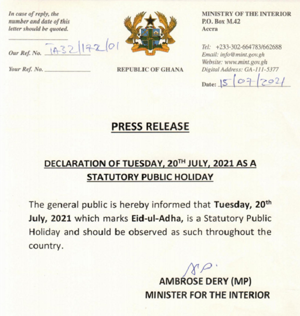 Govt declares July 20 as a public holiday to celebrate Eid-ul-Adha. 49