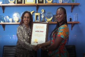 CEO of African Brands Warrior, Fatima Alimohammed presented the award to Latex foam