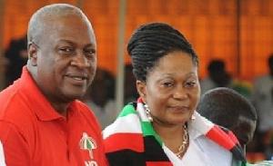 Former President John Dramani Mahama with wife Lordina Mahama