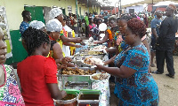 File Photo: Women lining at a buffet on Mothers' day