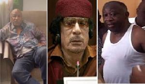 L - R: Guinea's Conde, Libya's Gaddafi and Ivory Coast's Gbagbo