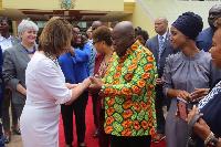President Akufo-Addo exchanging pleasantries with Nancy Patricia Pelosi