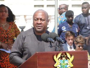 Mahama delivering his speech at the launch of 'Poverty in a Rising Africa'