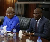 Professor Aaron Mike Oquaye, Speaker of Parliament (L) and Haruna Iddrisu, Minority leader (R)