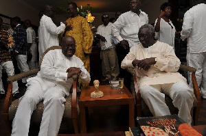 File photo: Akufo-Addo with former President Kufuor having a good laugh