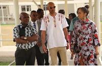 Boris and Nicole were received by FOCOS Ghana Founder Prof Oheneba Boachie-Adjei (L)