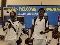 Christian Atsu (left) and Daniel Amartey in Gabon.