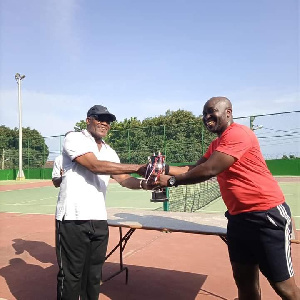 William Amoo receiving his trophy