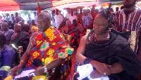 Paramount Chief of Ekumfi Traditional Area, Nana Odeefo Akyin XII (R) and Dasebre Kweebu Ewusie VII