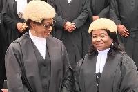 Justice Sophia Ophelia Adjeibea Adinyira (R) & Chief Justice, Sophia Akuffo