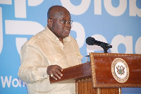 President Akufo-Addo (inset) addressing participants at the Global Peace conference