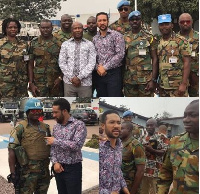 Actor Majid Michel with Ghanaian Army personnel's based in the DR Congo