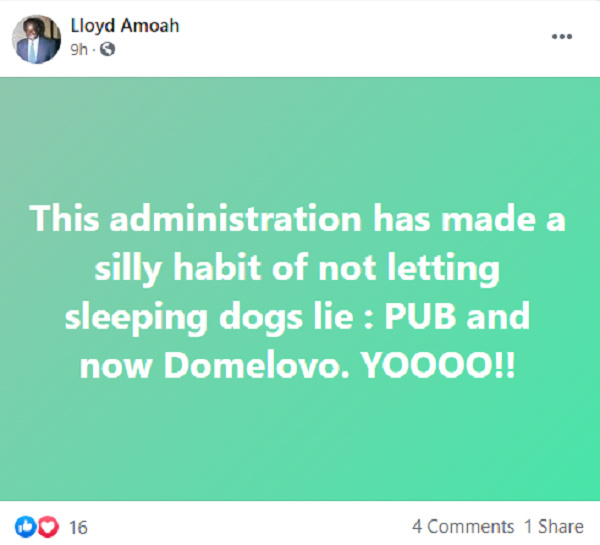 Domelevo: Akufo-Addo's govt made 'silly habit' of not letting sleeping dogs lie – Amoah. 4