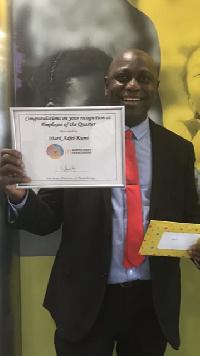 Mark Adjei-Kumi was awarded 'Best of the Best  Quarter Employee'