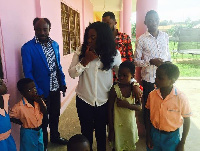 Emelia Brobbey interacting with some of the kids