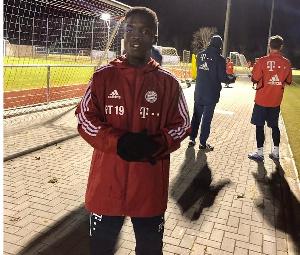 Teenager Mathew Anim Cudjoe at Bayern Munich training grounds