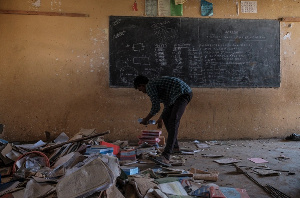 A looted classroom at Ksanet Junior Secondary School in Wukro