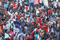 Fans at the Hearts of Oak-Asante Kotoko match.