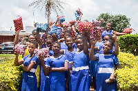 Some of the girls who benefited from United Way Ghana's 'Girls closet'