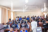 Students of Manhean Anglican JHS in Tema in the new furnished ICT lab
