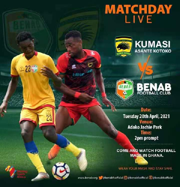 Asante Kotoko to play lower-tier side Benab FC in a friendly encounter