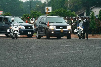 The 7 vehicles include a leading police vehicle, security detail, Protocol, the media team