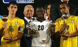 Adiyiah (in white) won the golden boot award at the 2009 World Youth Championship