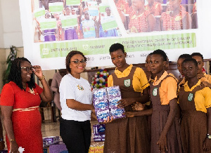 Ms Wendy Laryea with some of the beneficiaries