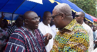 Vice President Dr Mahamudu Bawumia in a warm embrace with Former President Mahama