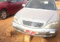 The Mercedes Benz saloon car impounded by the Customs Division of GRA at Sumbrungu