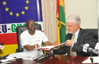 Finance Minister, Ken Ofori Atta with EU Ambassador, William Hanna